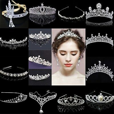 Bridal Wedding Crystal Flower Tiara Crown Pearl Rhinestone Hair Band Headband S