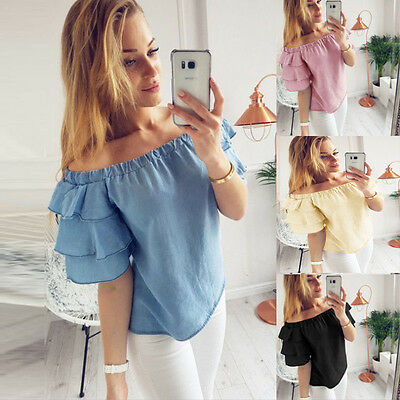 Women Off Shoulder Top Long Sleeve Pullover Casual Blouse Summer Loose Shirt
