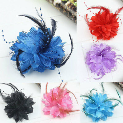 Women Pearl Corsage Hair Clip Flower Fascinator Feather Hairpin Hair Accessories