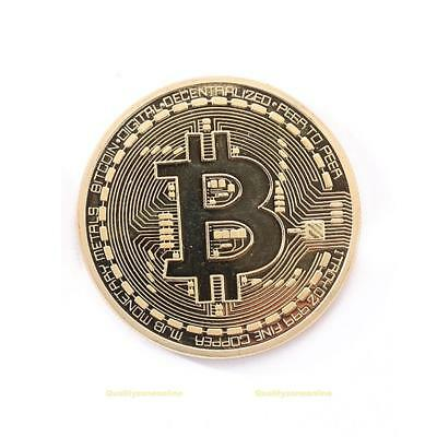 Gold Plated Bitcoin Coin Collectible Gift BTC Coin Collection Commemorative Gift