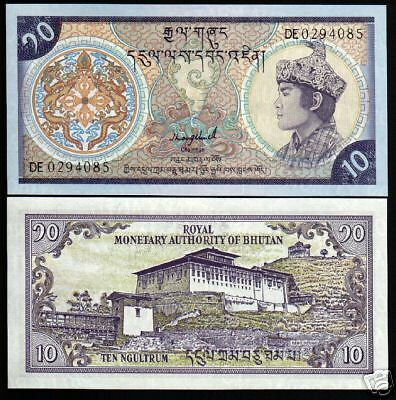 Bhutan 10 Ngultrum P15B 1992 King Paro Palace 2 Pfx Unc Currency Money Bank Note