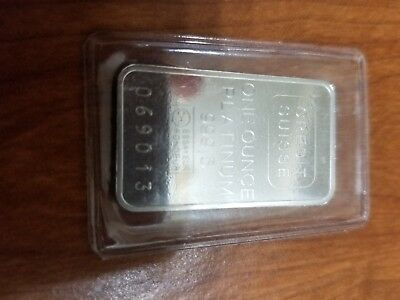 1 Oz. Platinum Bar Credit Suisse