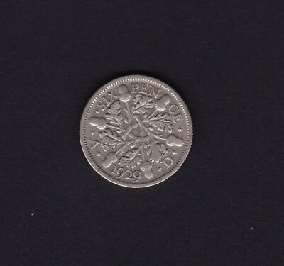 1929 Great Britain UK George V Sixpence Silver Coin