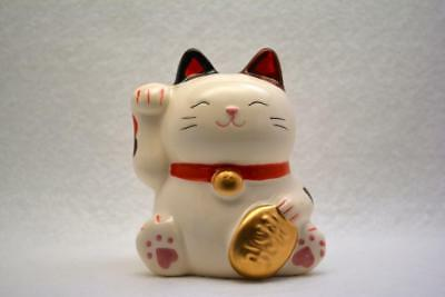 Lucky Cat Maneki-Neko Right Hand Raised White Color From JAPAN FreeShipping