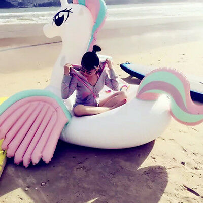 108'' Giant Unicorn Colorful Wings Float Summer Swim Pool Inflatable Water Raft
