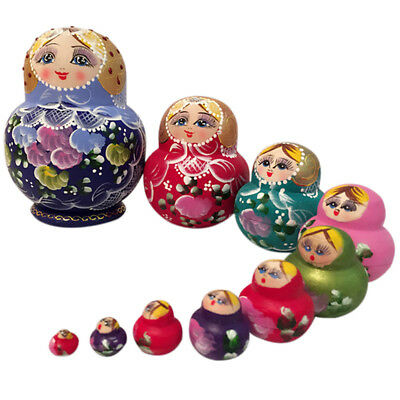 10 Pcs/ set Wooden Gifts Nesting Dolls Matryoshka Babushka Russian Girl Toys UK