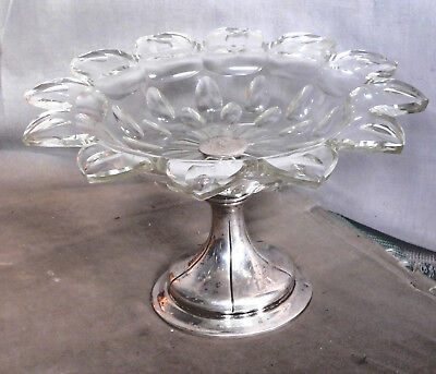 Antique Cut Glass DUTCH Solid Silver Dish Compote Tazza Netherlands Holland 833