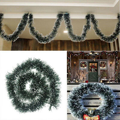 Dark Green And White Two Tone Tinsel Christmas Tree Decoration Party Garland