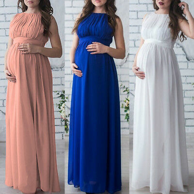 Maternity Women Evening Dress Pleated Maxi Pregnancy Baby Shower Wedding Gown