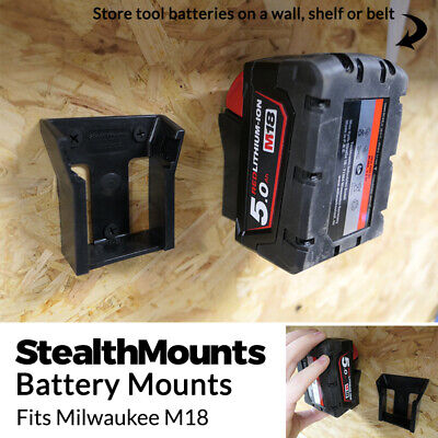 2x BATTERY MOUNTS for MILWAUKEE M18 18v Storage Holder Shelf Rack Stand Slots
