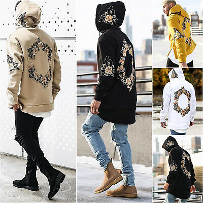 Mens Hoodie Sweatshirt Floral Hooded Top Pullover Jumper Sweater Hoody Jacket