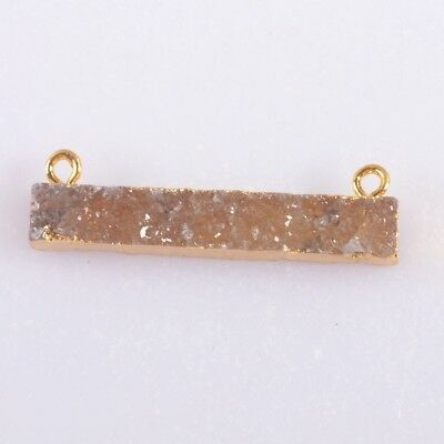 Natural Agate Druzy Geode Connector Gold Plated T045315