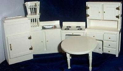 A 7 piece Wooden Kitchen Set , Painted Cream/ Off White  12th
