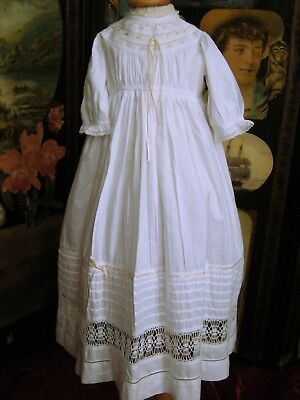 Edwardian Childs Dress Detailed Bodice, Long Sleeves Lace Inserts  Vgc
