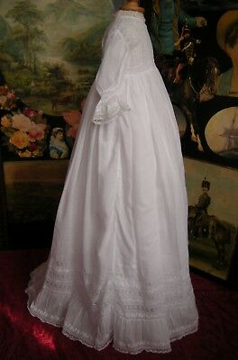 Antique Victorian Muslin Hand Made Christening Gown Lace Frills & Petticoat