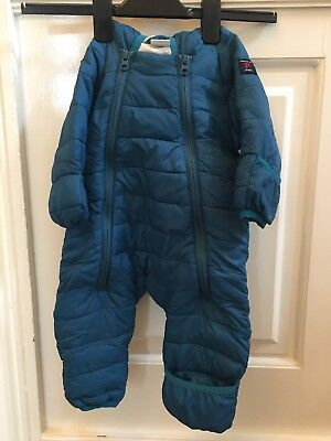 Polarn O Pyret - 2-4 months- snowsuit with hood and hand/foot muffs- teal