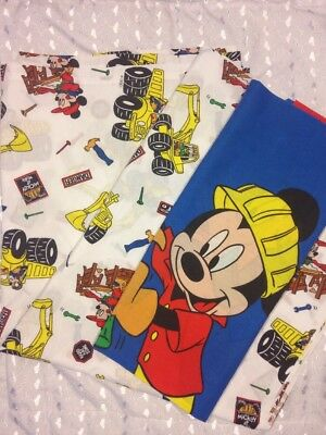 Disney Vintage Mickey Mouse Twin Flat Top Sheet Construction Goofy Donald quilt
