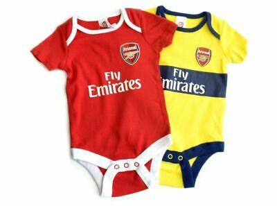 Arsenal FC Official Football Gift 2Pk Home Away Kit Baby Bodysuits Yellow Red