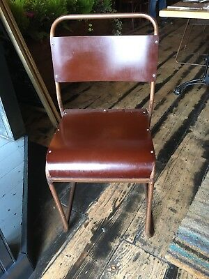 7 Vintage Wooden Stacking Chair Aged Copper Frame Stackable School Chairs