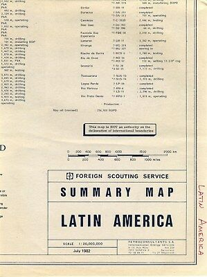 Latin American 1982 Foreign Scouting Service OIL Summary Map Wildcats