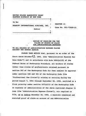 Braniff International Airlines Chapter 11 Bankruptcy Documents 1993