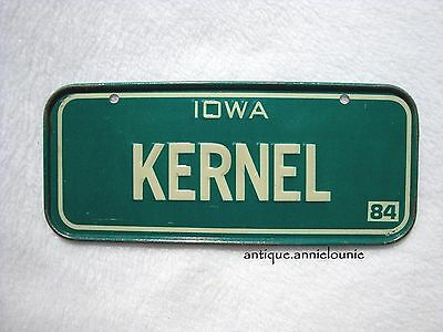 1984 IOWA Post Cereal License Plate # KERNEL