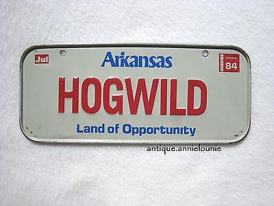 1984 ARKANSAS Post Cereal License Plate # HOGWILD