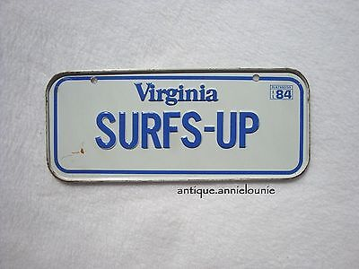 1984 VIRGINIA Post Cereal License Plate # SURFS-UP