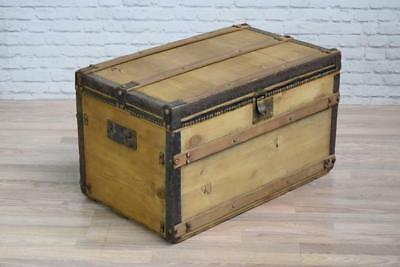 Antique Victorian Pine Wooden Blanket Trunk Chest Box Coffee Table