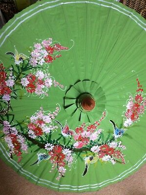 Hand Painted Green Floral With Birds Paper & Bamboo Parasol - New