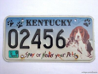 2009 KENTUCKY License Plate SPAY OR NEUTER YOUR PETS # 02456