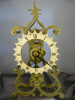 Brass Single Fusee Movement Skeleton Clock. A/f