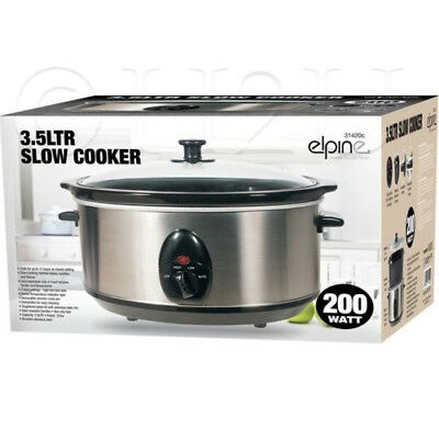 3.5L Slow Cooker Stainless Steel + Removable Inner Ceramic Bowl Steam Grill 200W