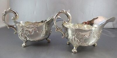 Large Pair Of Victorian Sterling Table Size Sauce Boats! London 1855.