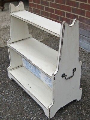George III antique painted solid mahogany book donkey bookcase 3 tier open shelf