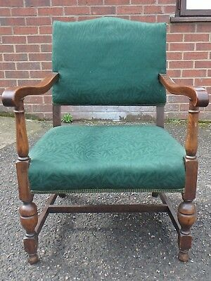 Art Deco antique solid oak green upholstered nursing armchair elbow side chair