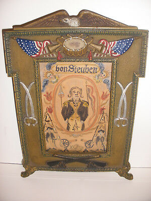 Antique American cast iron patriotic frame General von Steuben folk art painting