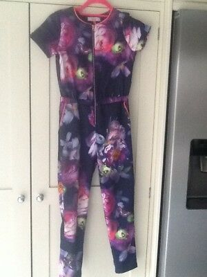 Ted Baker jumpsuit, age 10, navy with bright floral print