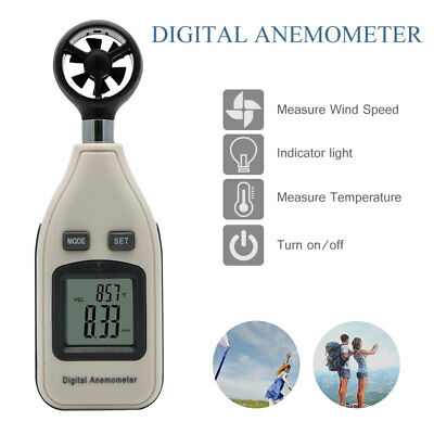 CE Approved Digital Handheld Anemometer Wind Speed Meter Thermometer Precise UK