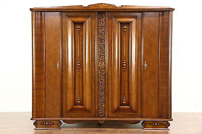 Art Deco 1930 Vintage Carved Oak Armoire, Wardrobe or Closet, Italy