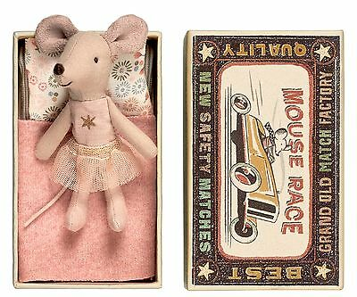 maileg pink little sister mouse with tulle skirt & gold star in matchbox bed