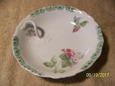 Pretty Vintage Round BOWL with Green Trim and A Unique Handle, Silesia