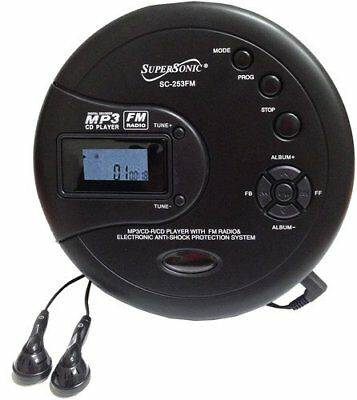 NEW Supersonic SC-253 40 Sec Anti-Shock MP3/CD/FM Radio Player + Headphones