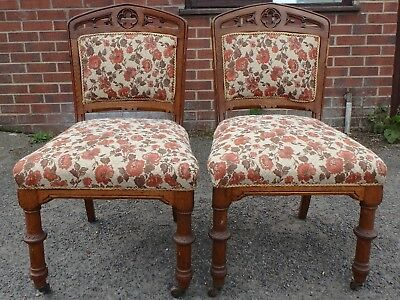 Pair 2 Victorian antique gothic style pierced solid oak hall side dining chairs