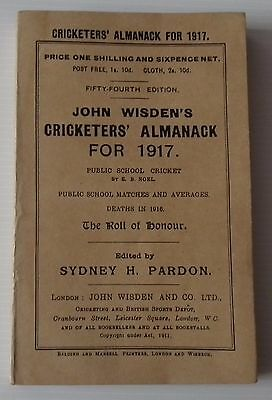 1917 Wisden Cricketers Almanack - With Restorations - Very Good Condition