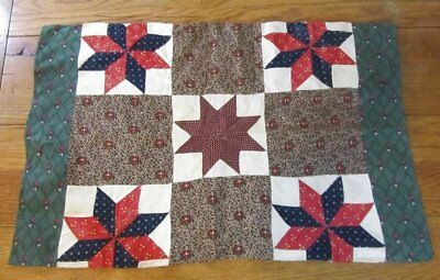 EARLY c 1840s Stars Antique QUILT pillow cover Turkey RED Blue ORIGINAL