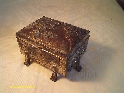 Heavy Antique Metal Silver Alloy Japanese Box 0.5 Kg Early 1900's Floral Design
