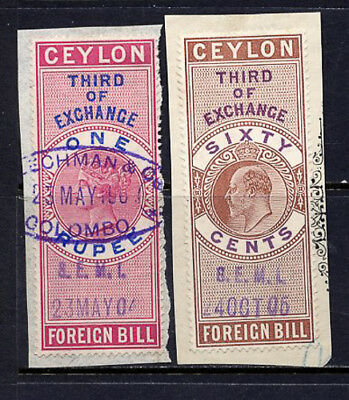 Ceylon Stamps (2) Foreign Bill Revenue Stamps on Piece VF Used