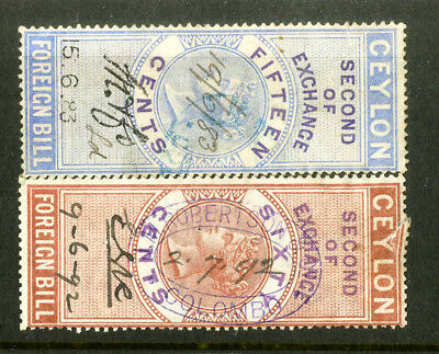 Ceylon Stamps 2 Revenues
