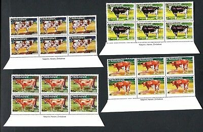 2017 ZIMBABWE  - EXOTIC DAIRY COWS new  IMPRINT BLOCKS of  6 - 22nd AUGUST 2107